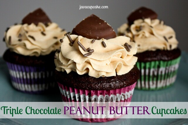Triple Chocolate Peanut Butter Cupcakes