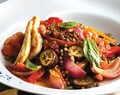 Sweet eggplant and lentil salad with haloumi