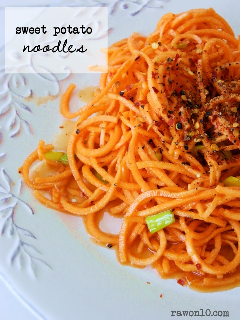 Raw Food Recipe: Sweet Potato Noodles ~ plus, Meal Plan Week Five