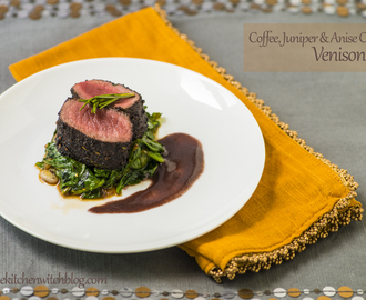 Coffee, Juniper Berry, and Anise Crusted Venison Loin