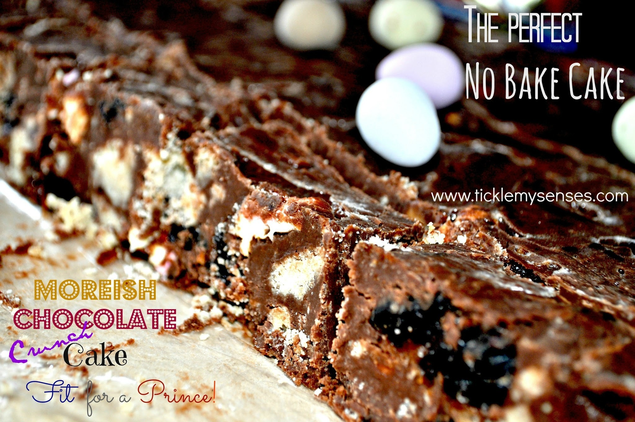 'No-Bake', 'Egg-Free' Chocolate Crunch Cake with Marshmallows, Prunes and Short Bread.