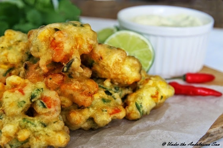 Prawn and sweet corn fritters
