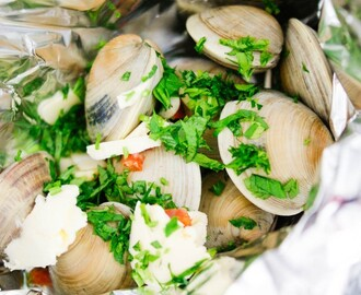 White Wine Clams Steamed in Tinfoil Packets