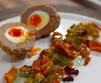 Scotch egg with homemade vegetable crisps