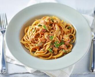 Creamy chilli, bacon and tomato spaghetti