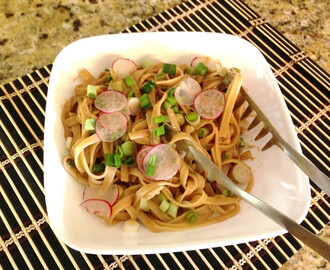 Take-out style noodles at home!  Sesame noodles with green onions & radishes