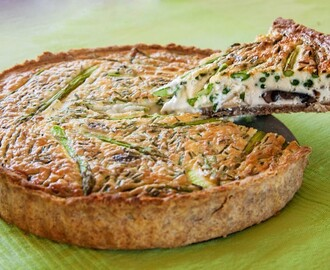 Asparagus, Samphire, Mushroom & Roasted Garlic Tart