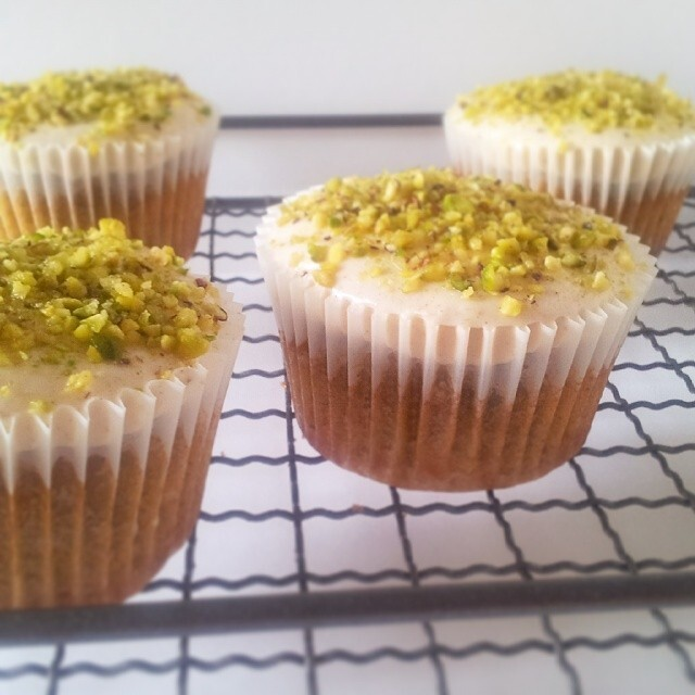 Gluten free carrot, coconut and pistachio cupcakes with cinnamon cream cheese icing