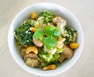 Broccoli curry met kastanjechampignons