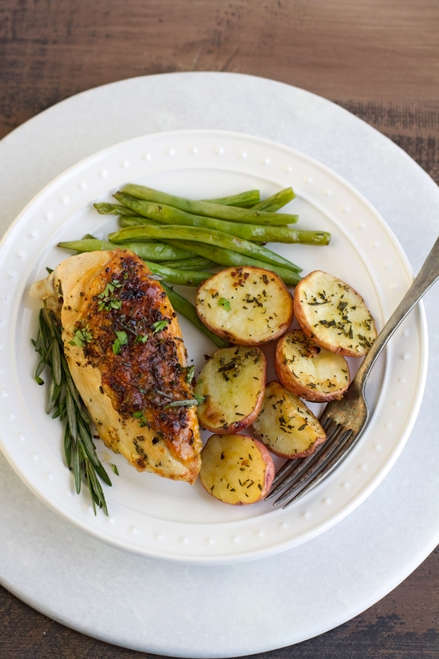 One Sheet Pan Rosemary Chicken with Potatoes and Green Beans