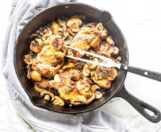 Garlic chicken thighs with mushrooms