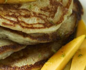 Coconut Pancakes with Mango Slices and Lime Syrup