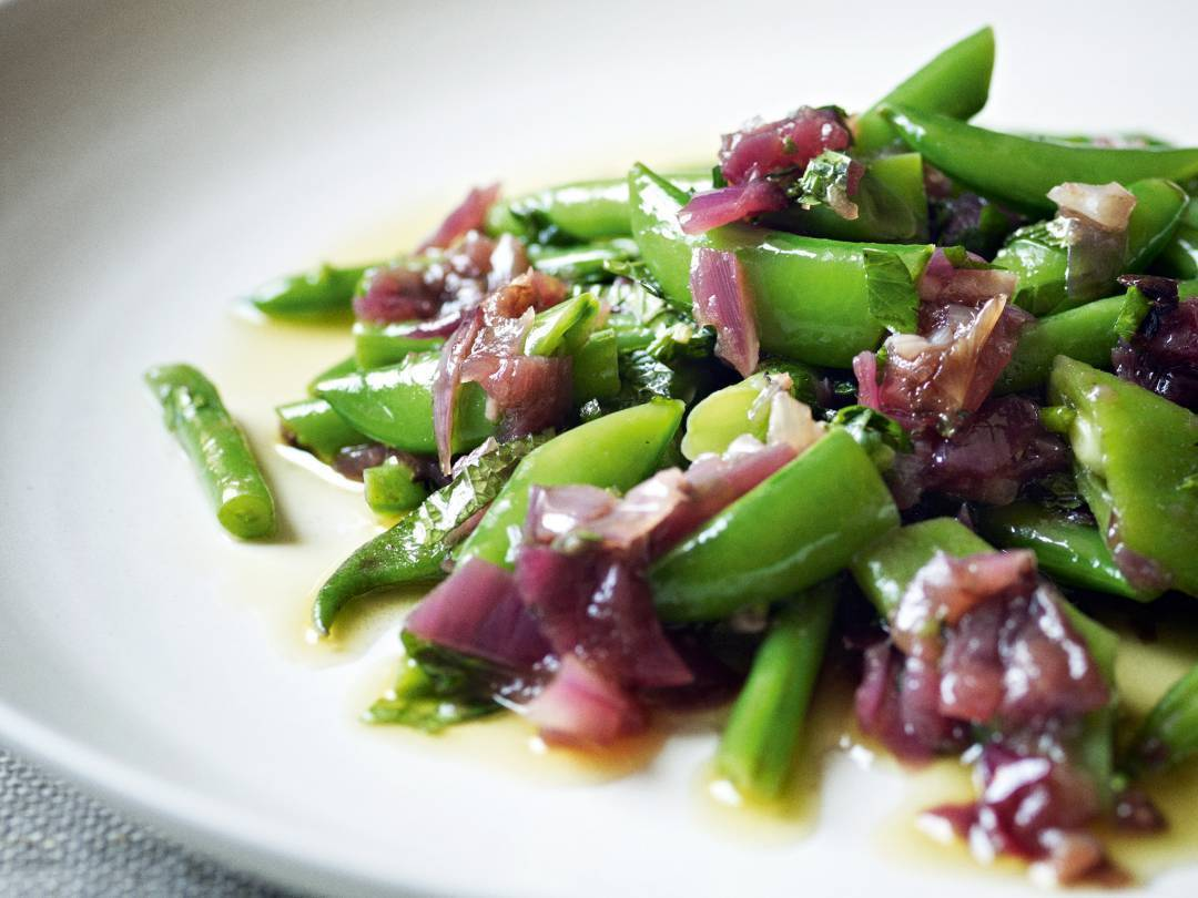 Roasted Red Onion Vinaigrette with Green Bean Salad