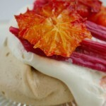 Brown sugar meringues with Grilled Rhubarb & Blood Oranges