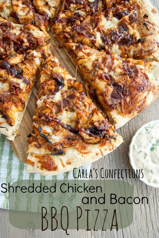 Shredded Chicken and Bacon BBQ Pizza