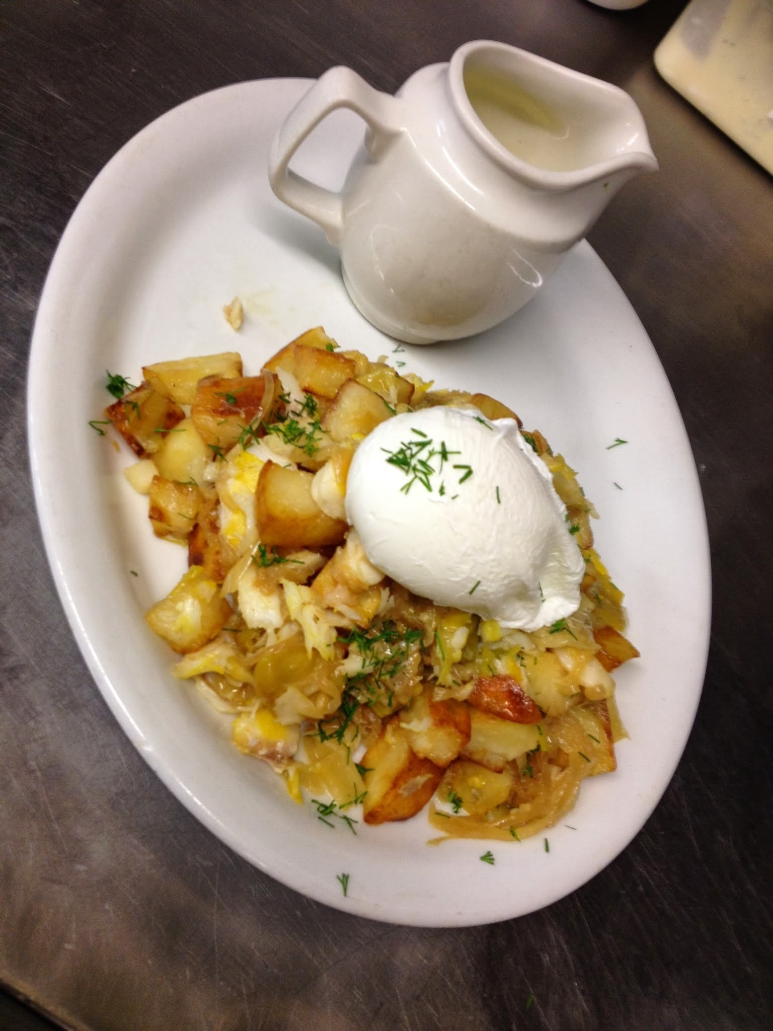 Smoked Haddock & Leek Hash, Poached Egg, Parsley Sauce