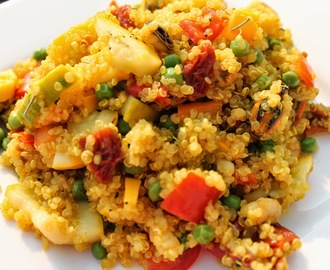 Quinoa paella with sea fruit and chorizo