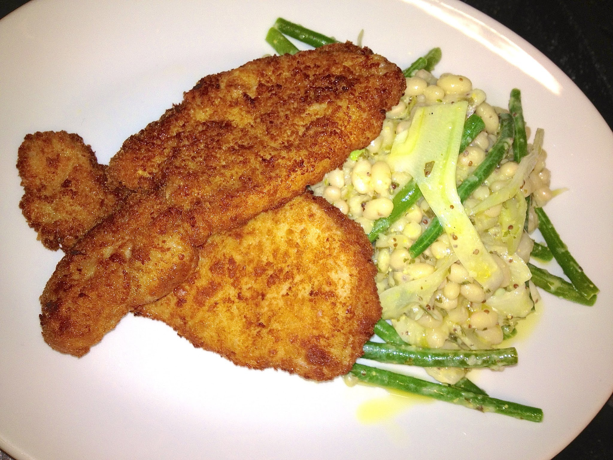 Crispy Pork Escalope with a Warm Salad of Haricot, Green Beans, Shaved Fennel & Mustard