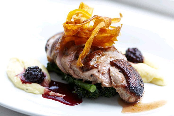 Irish Duck Breasts, Parsnip purée & a Cranberry wine sauce