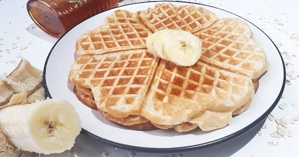 Banana Oats Waffles in 3 ways