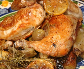 Roast Chicken, Artichokes, Olives, Lemon & Smoked Garlic