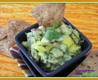 Mango Guacamole with Baked Tortilla Chips