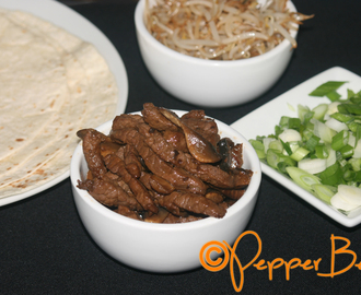 Mongolian Beef Wraps with Spring Onion & Bean Sprouts Recipe!