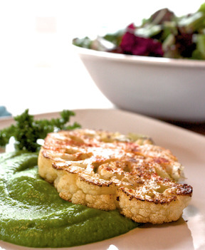 "Cauliflower ""Steaks"" with Green Pea Purée"