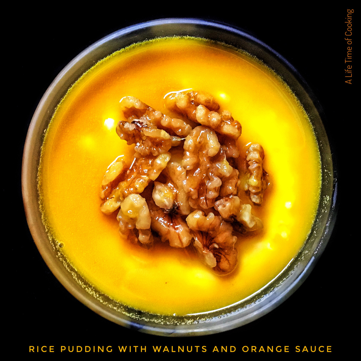 Warm Rice Pudding with Orange Star Anise Sauce and Walnuts