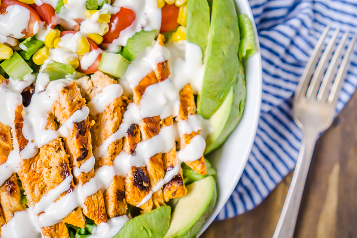 Buffalo Chicken Salad with Chunky Bleu Cheese Dressing