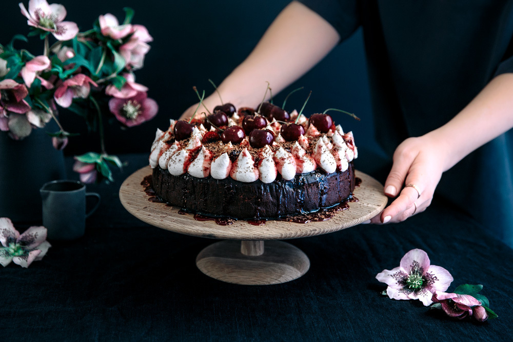 Steamed Black Forest Mud Cake with Vanilla Mascarpone & Vanilla Cherry Jam