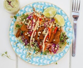Chipotle Seitan Tacos with Jicama Slaw & Charred Corn