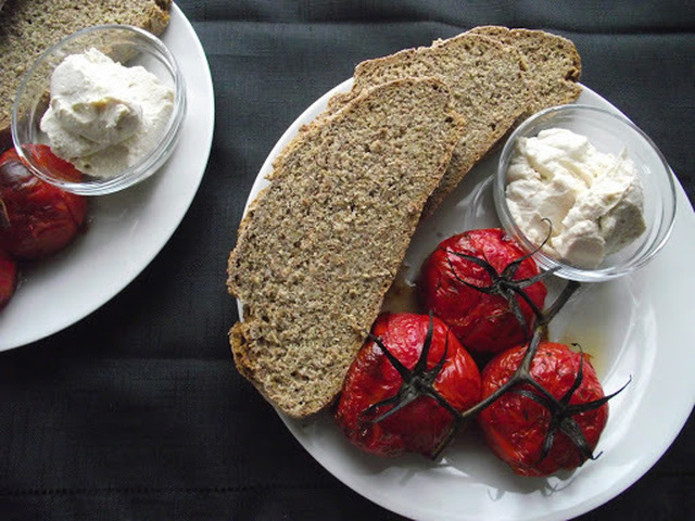 Sunday Brunch ~ Soda Bread with Vegan 'Goats Cheese' and Blistered Vine Tomatoes