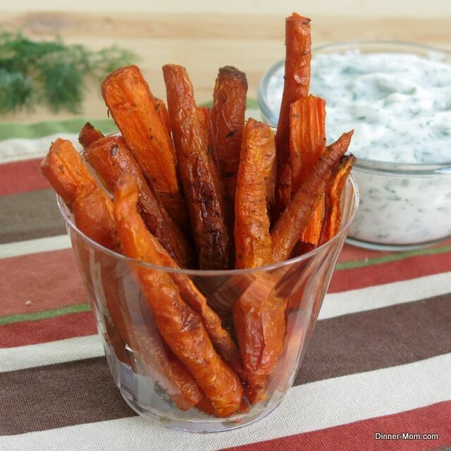 Carrot Fries and Yogurt Dill Dipping Sauce