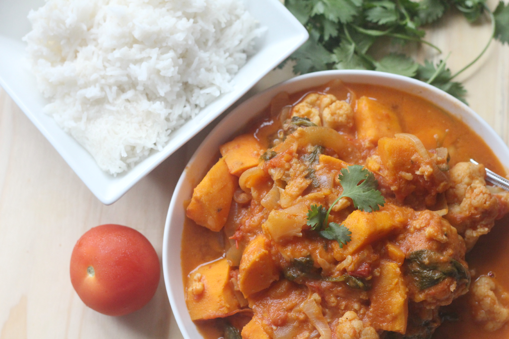 Sweet Potato, Prawn & Spinach Curry