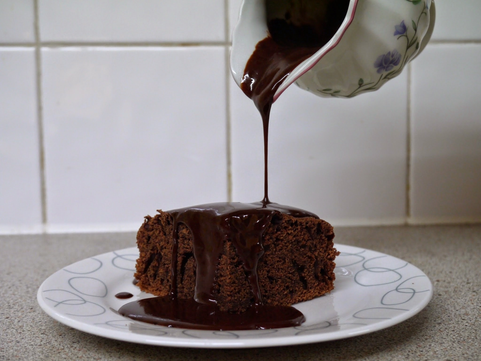 Eggless Chocolate Cake + Hot Fudge Sauce