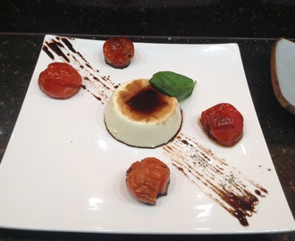 Basil Panna Cotta with Oven Roasted Tomatoes
