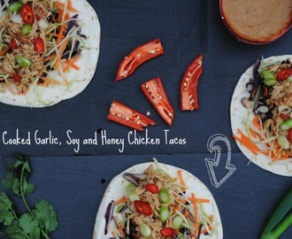 Slow Cooked Garlic, Soy and Honey Chicken Tacos