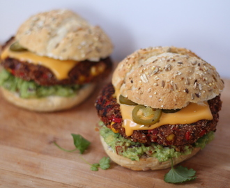 Mexican Veggie Bean Burgers with Guacamole