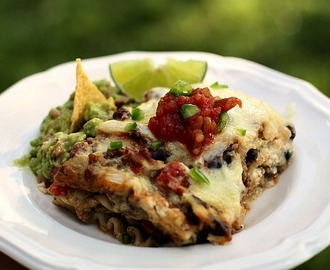 Mexican Lasagna with Green Chile Sauce