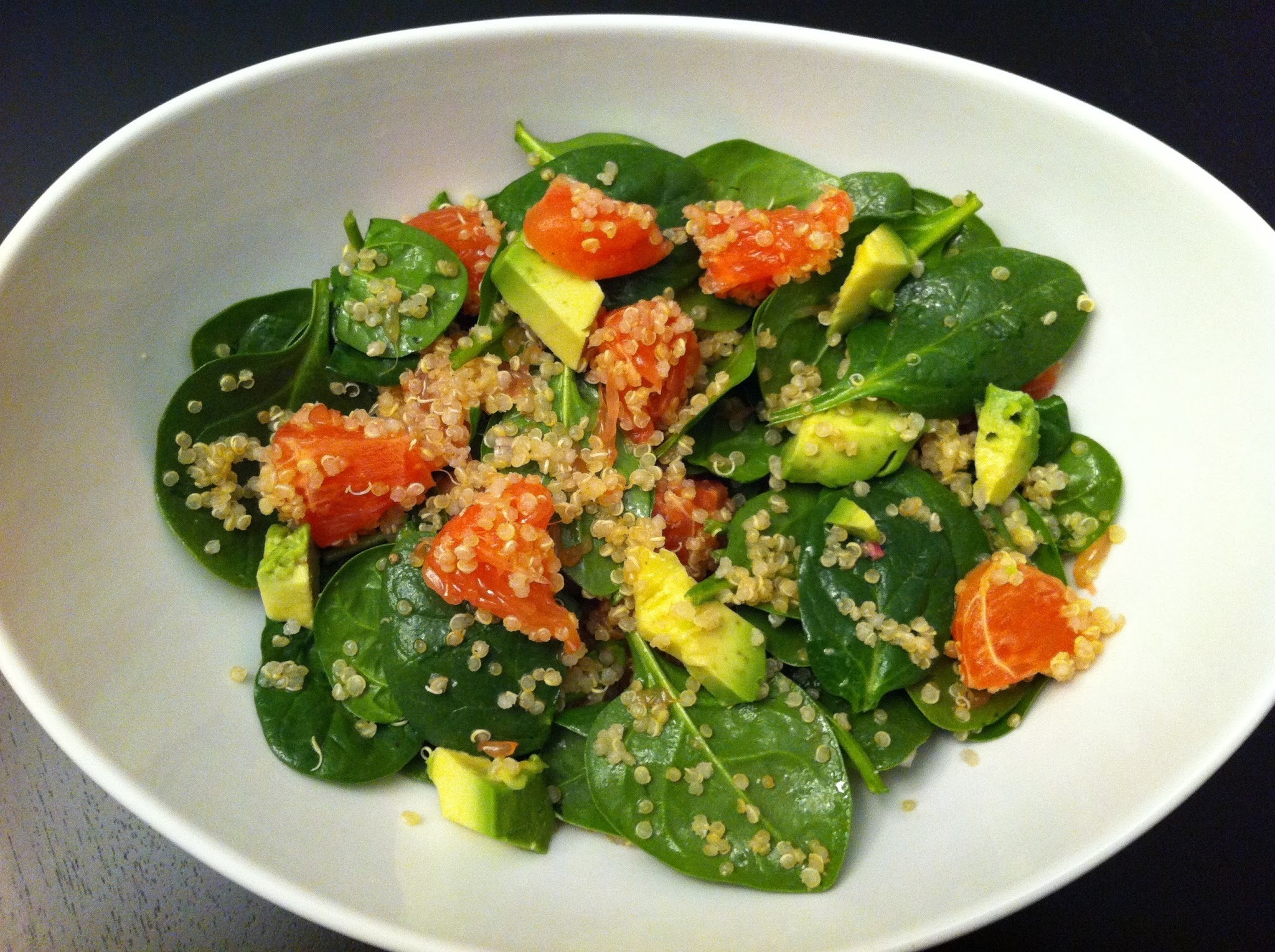 Spinach Quinoa Salad with Grapefruit and Avocado