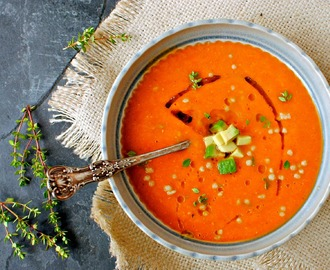 A Simple, Intense Tomato Soup with Maftoul