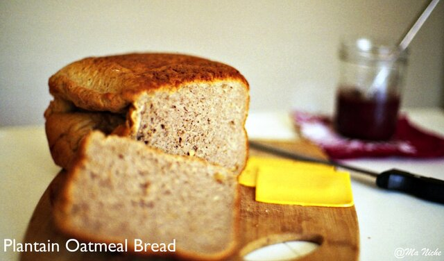 Plantain Oatmeal Bread with Walnuts & Strawberry Jam