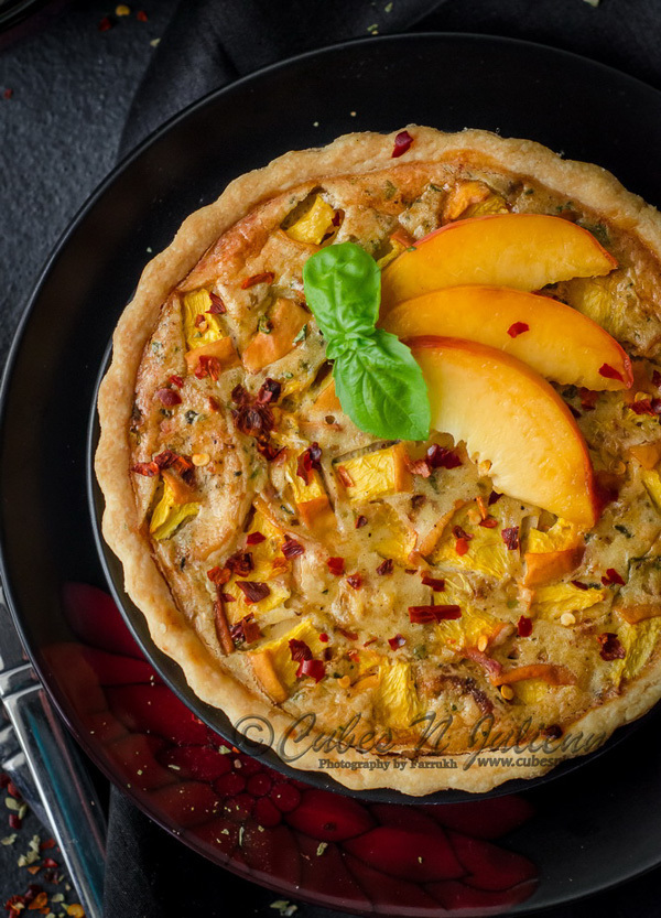 Roasted Chicken and Peach Quiche from Farrukh of Cubes N Juliennes