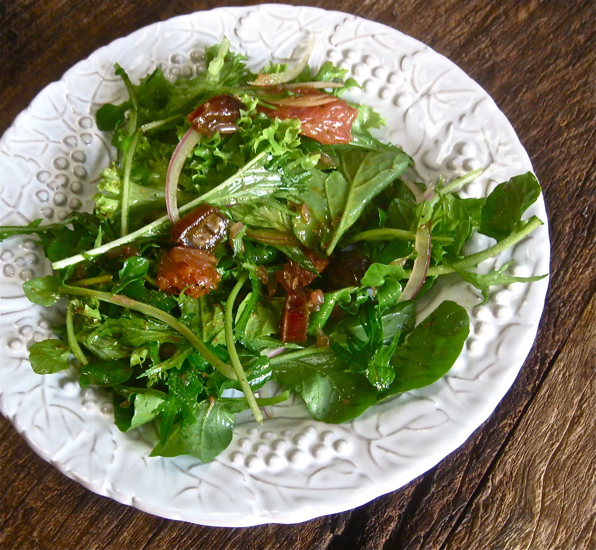 Watercress, Mizuna, and Grapefruit Salad with Curry Vinaigrette