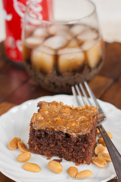 Cola Cake with Broiled Peanut Butter Frosting