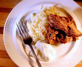 Slow Cooker Greek Beef with Tzaziki and Orzo