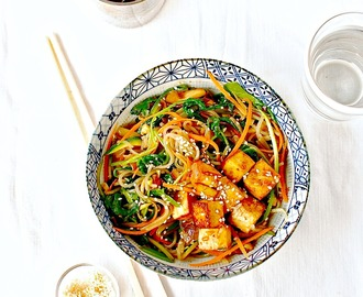 Korean Sweet Potato Noodle Stir Fry (Japchae) with Marinated and Baked Tofu