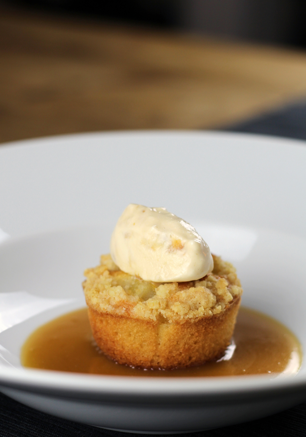 Pear Crumble Cake with Amaretto Toffee Sauce and Salted Caramel Ice Cream