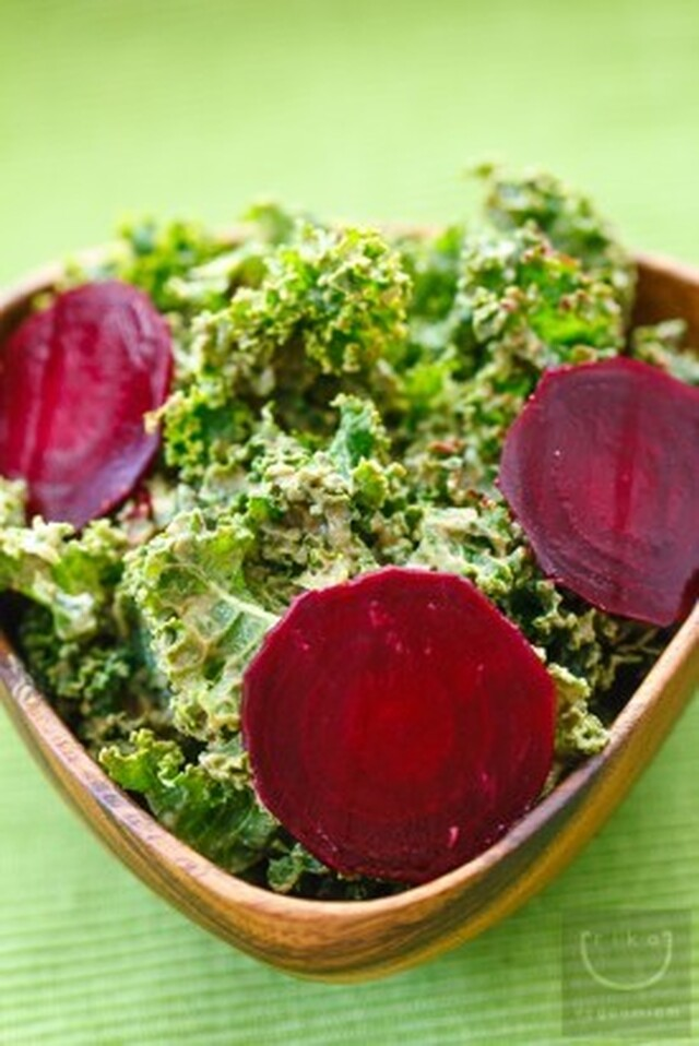 Raw Kale Salad with Creamy Avocado Dressing & Baby Beets